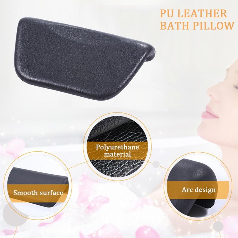 Spa Bath Pillow, PU Bath Cushion With Non-Slip Suction Cups, Ergonomic Home Spa Headrest For Relaxing Head, Neck Bath Pillows