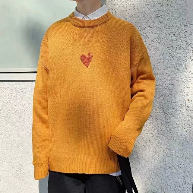 Sweaters Men Printed Simple 2XL Loose Korean Harajuku Mens Knitting High Quality O Neck Daily Soft Thick All match Fashion Chic