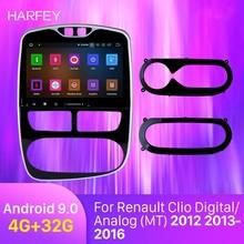 Harfey 10,1 дюймов Android 9,0 gps Navi HD сенсорный экран авто стерео Bluetooth для Renault Clio цифровой/аналоговый(MT) 2012 2013
