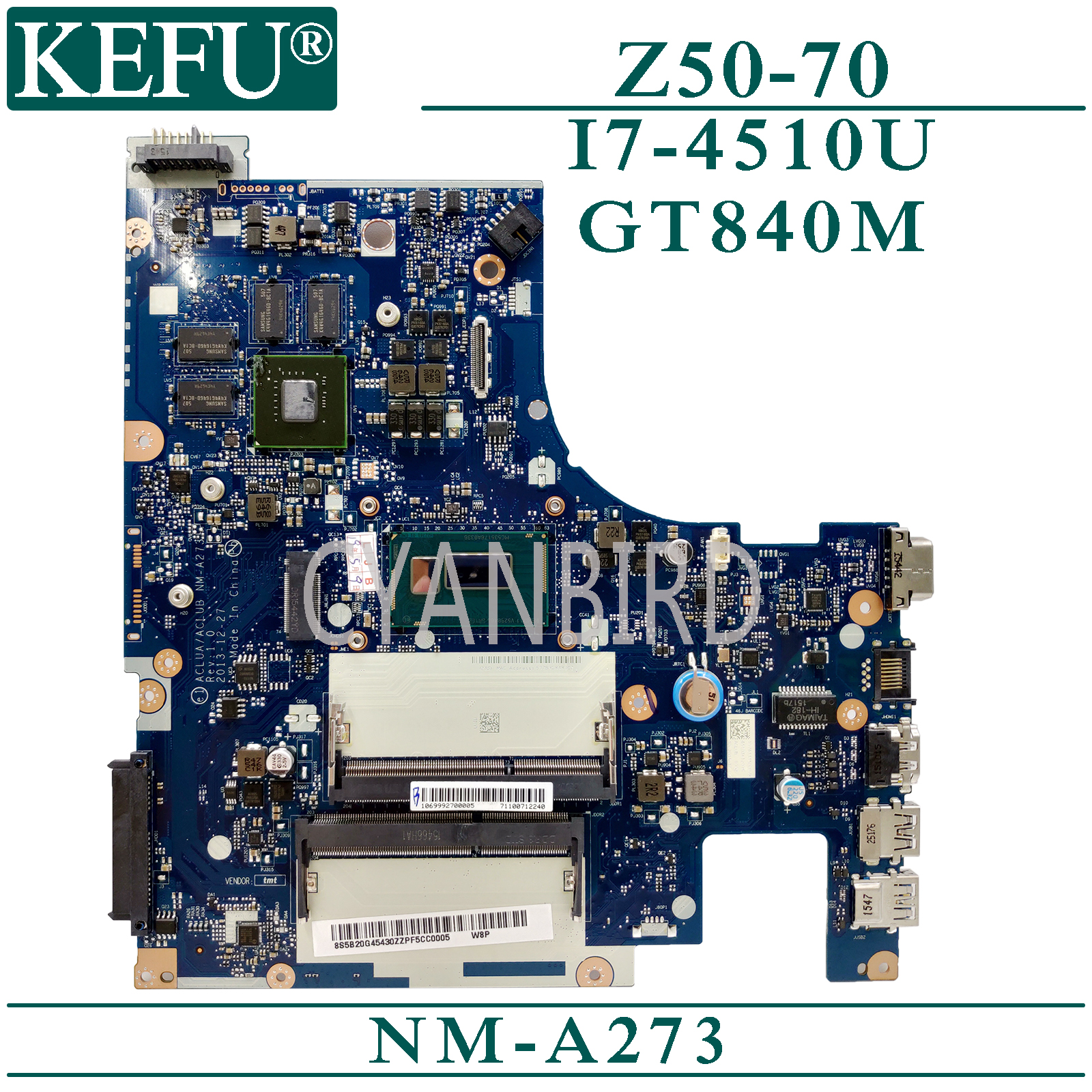 KEFU NM-A273 original mainboard for <font><b>Lenovo</b></font> <font><b>Z50</b></font>-<font><b>70</b></font> G50-70M with I7-4510U GT840M Laptop <font><b>motherboard</b></font> image