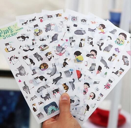 6 Pcs/set Novelty Cats Cartoon Animals Sticker PVC Cartoon Stickers Diary Sticker Scrapbook Decoration PVC Stationery Stickers