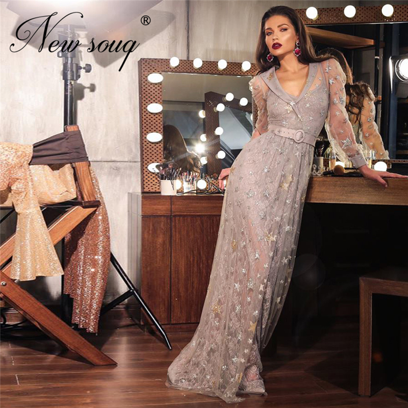 Illusion Luxury Gery V Neck Evening Dress Vestidos Sexy Long Party Gowns Arabic Dubai Kaftans 2020 Custom Made Prom Dresses New