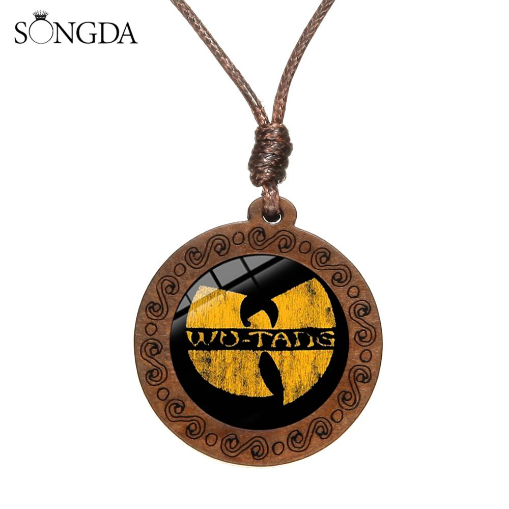 SONGDA WU TANG CLAN Charm Necklace Hip Hop Rap Band Letter Print Glass Dome Wood Pendant Rope Chain Necklace Music <font><b>Fans</b></font> <font><b>Jewelry</b></font> image