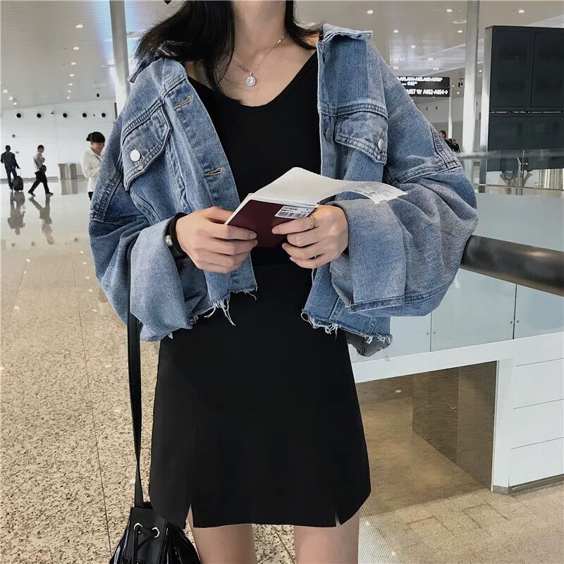 Tassel Cropped Denim Jacket Women Boyfriend Jeans Jacket Coat Autumn Winter Harajuku Oversized Outerwear Batwing Sleeve Pockets