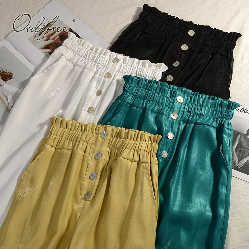 Ordifree 2019 Summer Women   Wide     Leg     Pants   High Waist Elastic Satin Casual Loose Trousers Thin   Pants   Plus Size