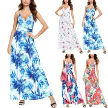 2020 Multicolor Tropische Jungle Leaf Boho Lange Jurk Sling Kruis Terug Vrouwen V-hals Party Night Elegante Sexy Maxi Zomer jurken(China)