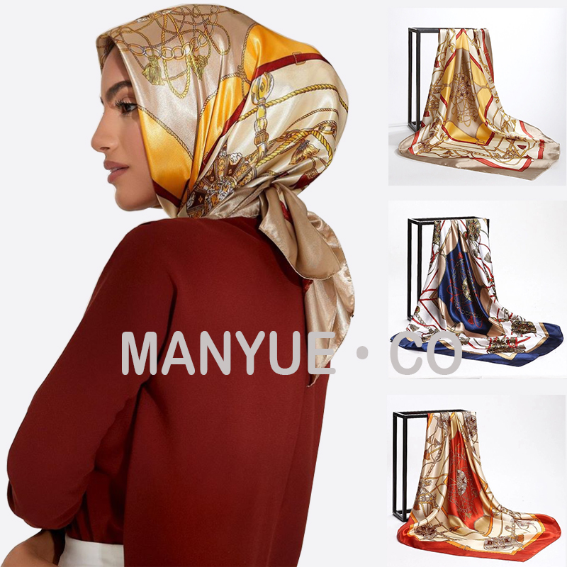 Square Silk Scarves Women Foulard 90*90cm Satin Hair Head Hijab Scarf Ladies chiffon Shawl Wrap Muffler Pareo Bandanna Female(China)