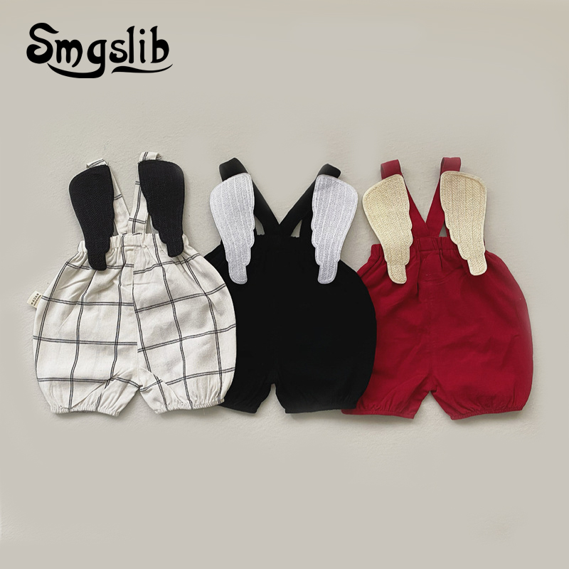 SMGSLIB 2021 Summer Baby Boys Girls Clothing Sleeveless With wings Baby Bodysuits Kids Jumpsuit New Autumn baby overalls newborn