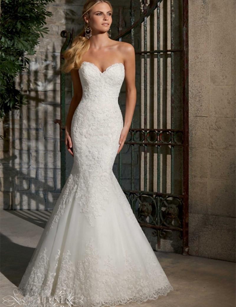New Arrival Sweetheart Mermaid Wedding Dresses Appliques Lace Bridal Dresses 2016 Vestido De Novia