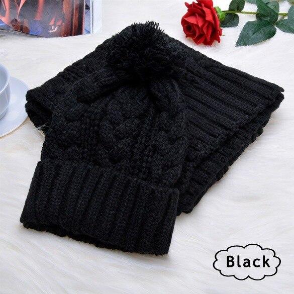 2019 Winter Warm Women Fashion Black Knitted Scarf And Hat Set Crochet Cap Beanie Ski Hat