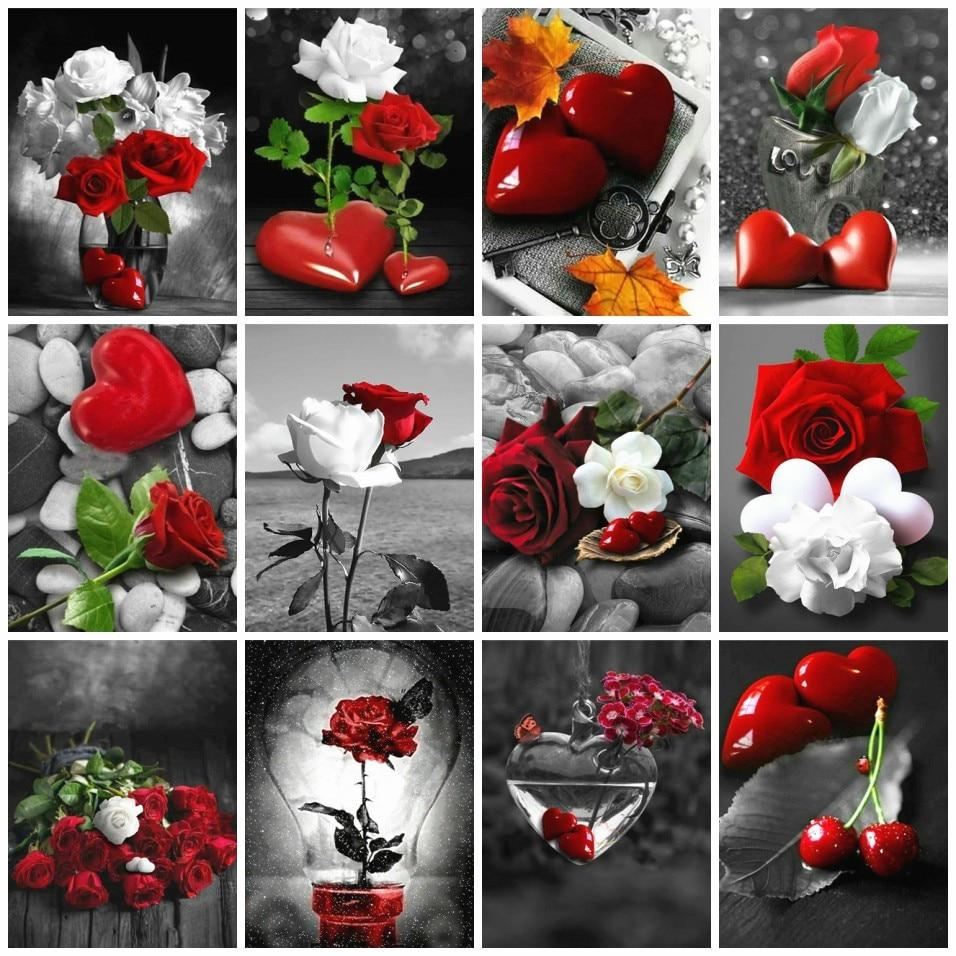 Azqsd Lukisan Dengan Angka Bunga Mawar Mewarnai Dengan Angka Jantung Akrilik Minyak Lukisan Tangan Cat Kit Kanvas Dekorasi Rumah Hadiah Cat Dengan Nomor Aliexpress