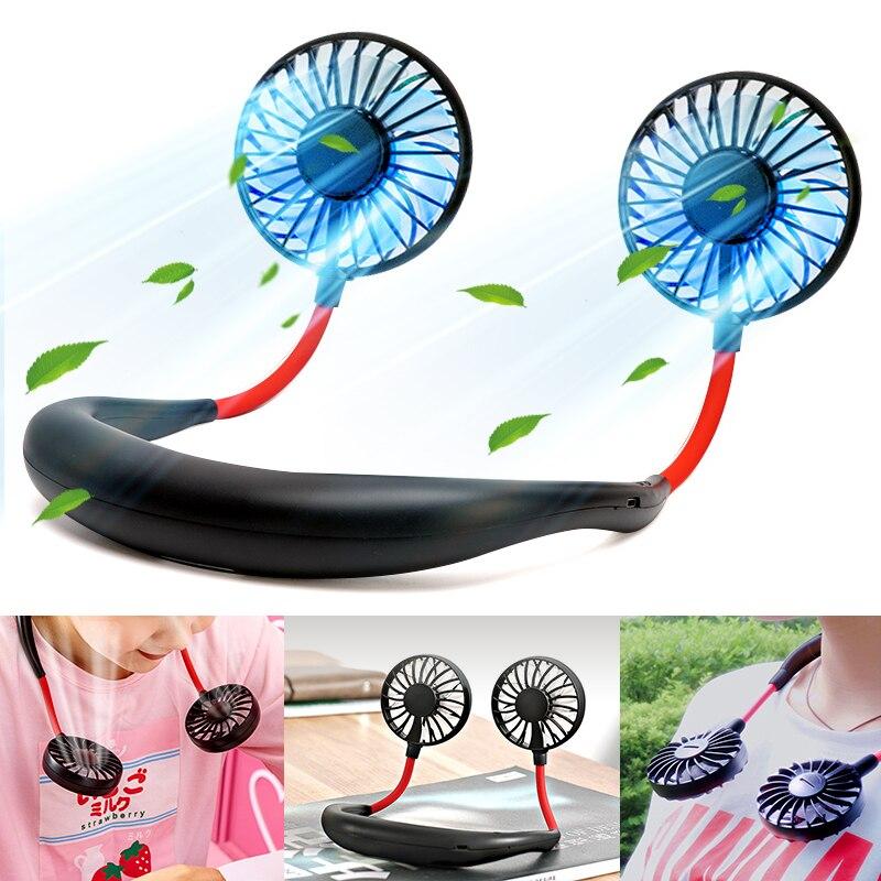 Mini Mão Livre da bateria pequeno ventilador portátil mini ventilador com luzes coloridas dois ventiladores Pendurados em volta do pescoço para o esporte