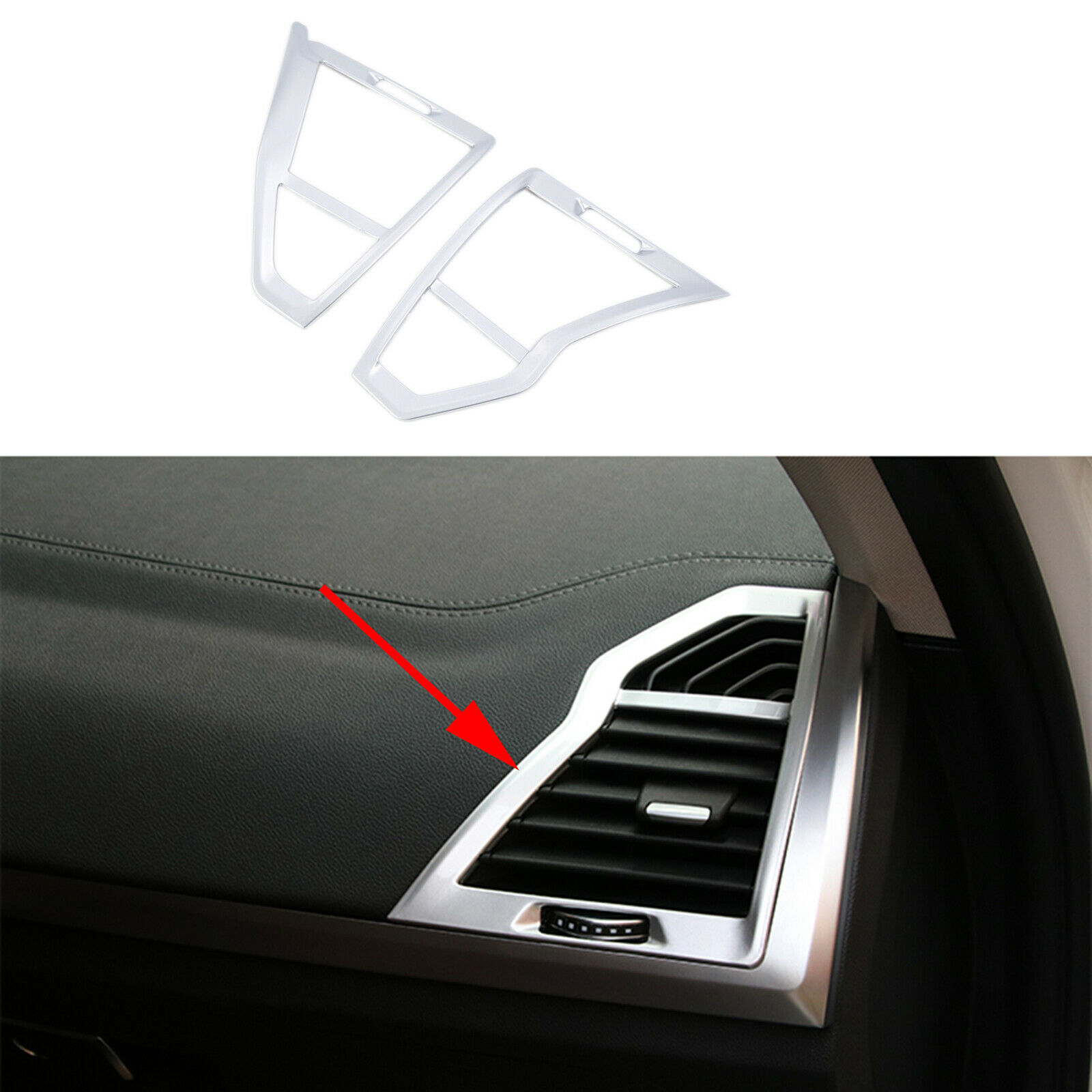 Matte Chrome Front Side Door Air Conditioning Outlet Vent Cover Trim Fit For <font><b>BMW</b></font> <font><b>X3</b></font> <font><b>G01</b></font> <font><b>2018</b></font> 2019 Interior Accessories image