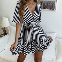 Spring and summer new style Fashion printed striped lace dress Summer explosion V-neck slim