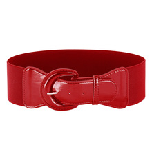 BP Women Ladies Girls Polyurethane Leather Buckle Waist Belt Waistband Stretchy bright-coloured Fashion belt for Woman Dress