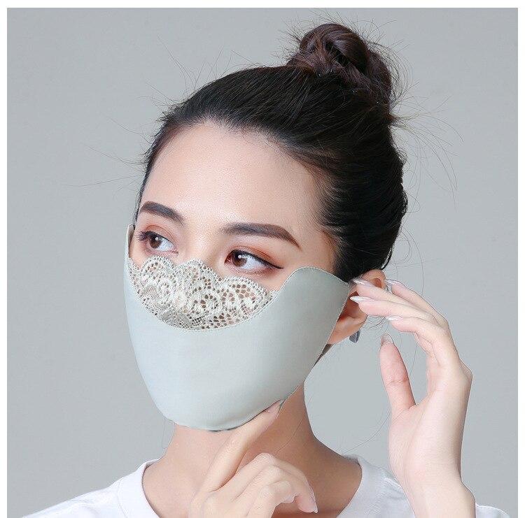Summer Sunscreen Mask Female Thin Outdoor Dustproof Washable Breathable Sunshade Lace Anti-UV Mask  Fashion Mask