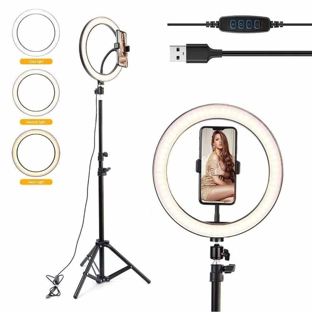 10 Inch Fotografi LED Cincin Cahaya Lampu Video Dimmable USB Cincin Lampu dengan Tripod Berdiri untuk Makeup YouTube TIK tok