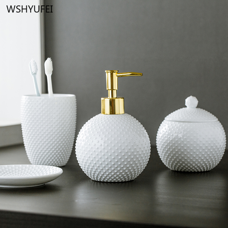 Creative spherical embossed dot non slip home hotel bathroom ceramic wash set supplies bathroom kit bathroom hand soap bottle|Bathroom Accessories Sets| |  - title=