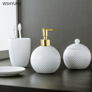 Kreative sphärische geprägt dot nicht-schlupf startseite hotel bad keramik waschen set liefert bad kit bad hand seife flasche