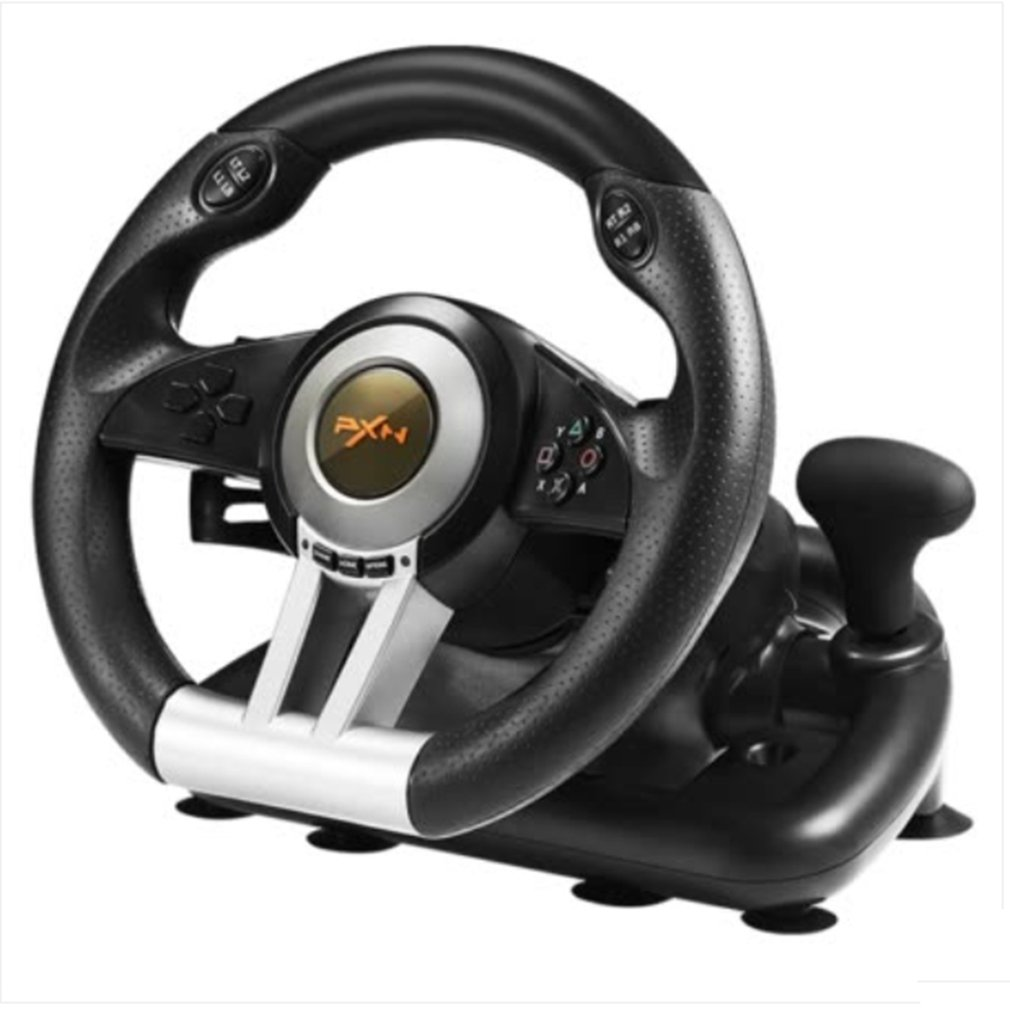Racing Game Steering Wheel USB Vibration Dual Motor Foldable Pedal Game Controller for PC PS3 PS4 Xbox One Game Accessories image