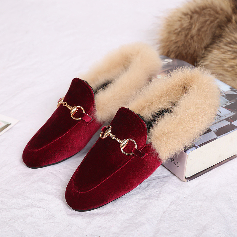 Free Shipping Metal Chains Leather Flats Winter Loafers Women Shoes Winter Warm  Fur Flat Creepers Soft Heel Moccasins Mujer