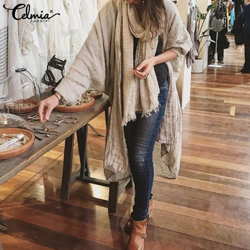 Celmia Women's Fashion   Blouses   2019 Autumn Long Batwing Sleeve   Shirts   Casual Loose Irregular Hem Tops Vintage Kimono Cardigans 7