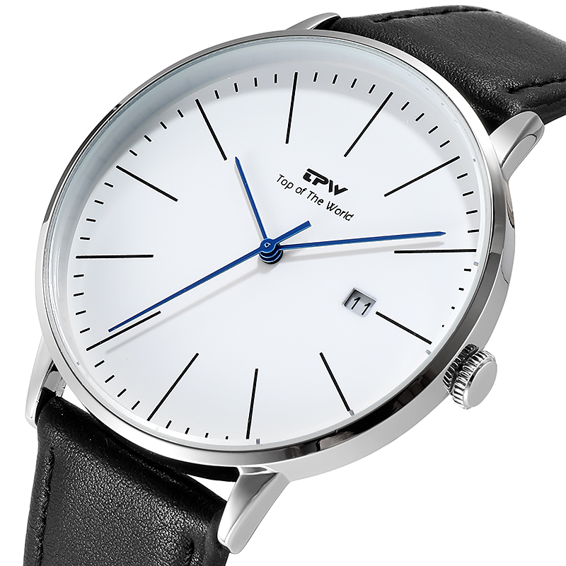 Simple Casual Business Men Watch With Calendar 3ATM Water Resistant Japan Movement 3 Year Battery Life PU Leather Strap