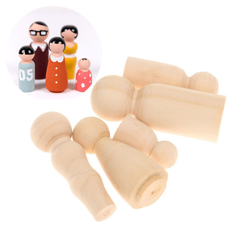 DIY Crafts Natural Color Unfinished Home Decorations Paint Stain Ornament Wooden Peg Dolls 5Pcs/set Family Five People