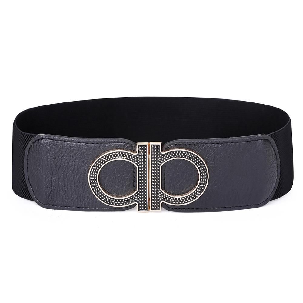 Belt Women Fashion High Quality Leather Solid Black Wide Luxury Female Elastic Waist Belt Waistband For Woman Dress