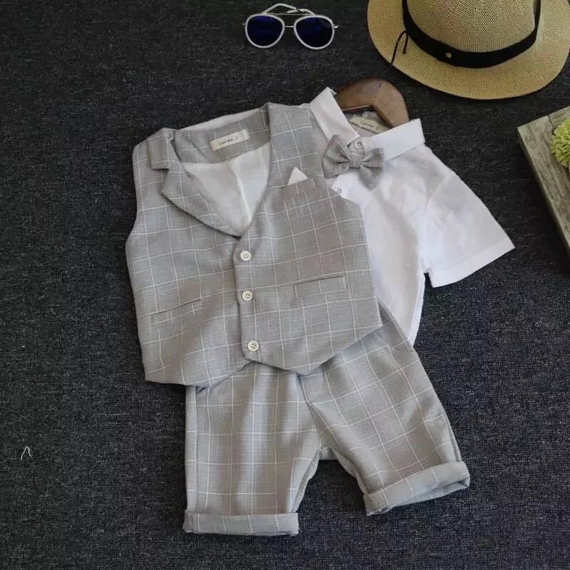 Wedding Suits For Boys Formal Wear Jacket Summer Cotton Boy Suits For Boy Costume Kids Blazer Baby Boy Outfits Chlidren Clothes