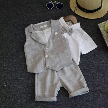 Wedding Suits for Boys Formal Wear Jacket Summer Cotton Boy Suits for Boy Costume Kids Blazer Baby Boy Outfits Chlidren Clothes boys black blazer wedding suits for boy formal dress suit boys kids page outfits 5 pcs set gh461