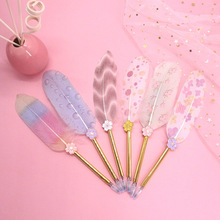 Hot Multi-Color Feather Body Gel Pen Teacher's Day Gift Metal Simple Quality Pen Office Stationery Beautiful Birthday Gift deluxe gel pen birthday gift pen
