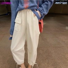 2019 autumn and winter new women's net red with the same paragraph fashion loose casual drawstring pocket nine points overalls(China)