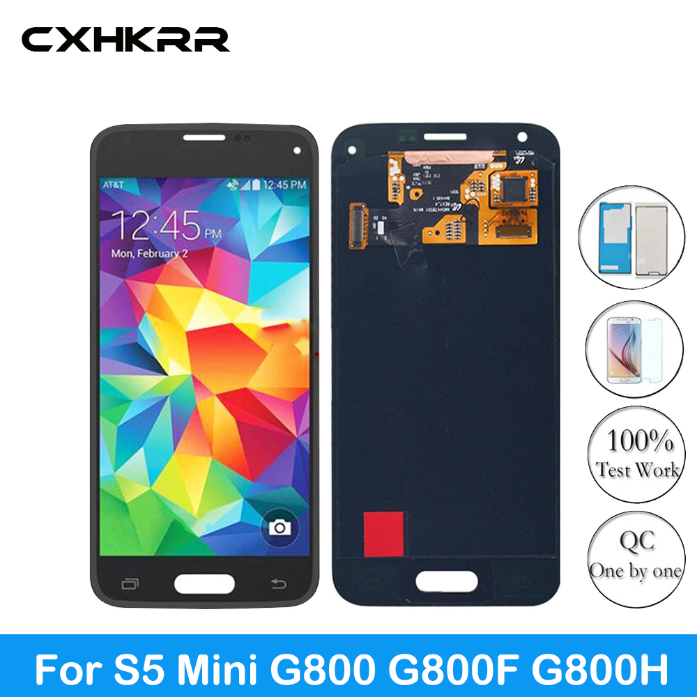 CXHKRR Replacement Super LCD For <font><b>Samsung</b></font> Galaxy S5 Mini G800 <font><b>G800F</b></font> G800H LCDs <font><b>Display</b></font> Screen Touch Digitizer Assembly Sticker image