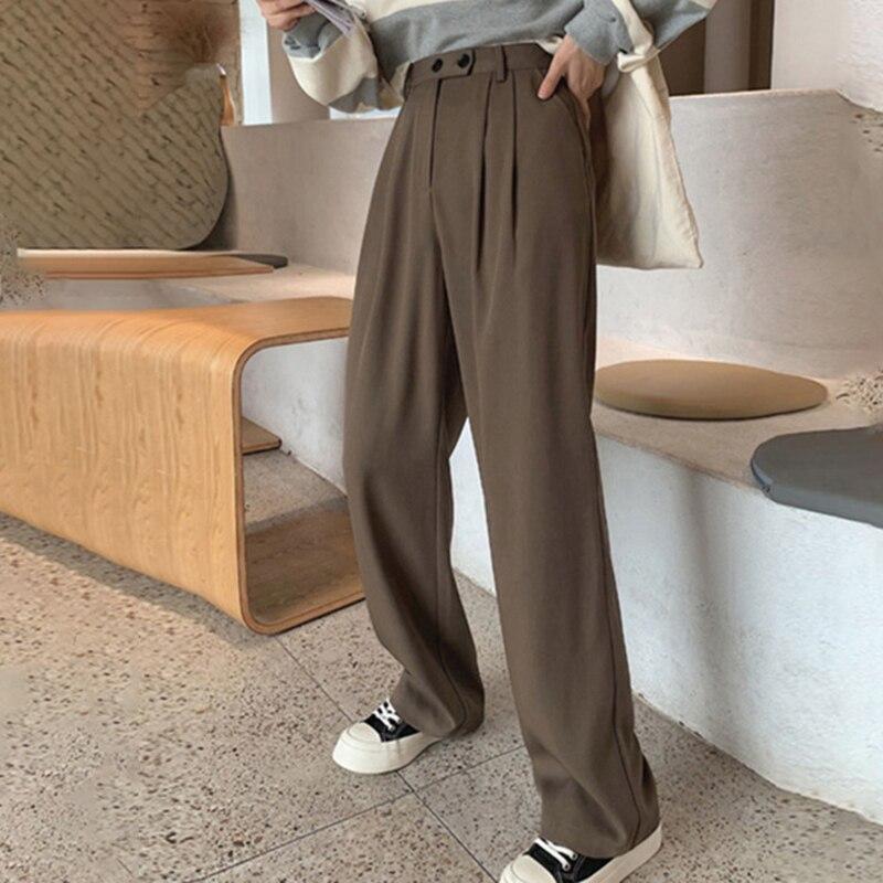 Hd2c94e33d3b64f75b40b8ccec315d71eC - Spring / Autumn Korean Buttons Zipper Pockets Solid Pants