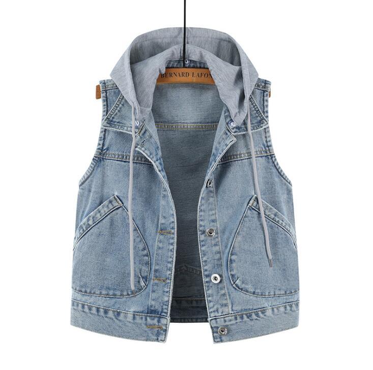 2020 New Female Denim Vest Denim Jacket Big Yards Short Paragraph Hooded Vest Female Big Pocket Sleeveless Jacket