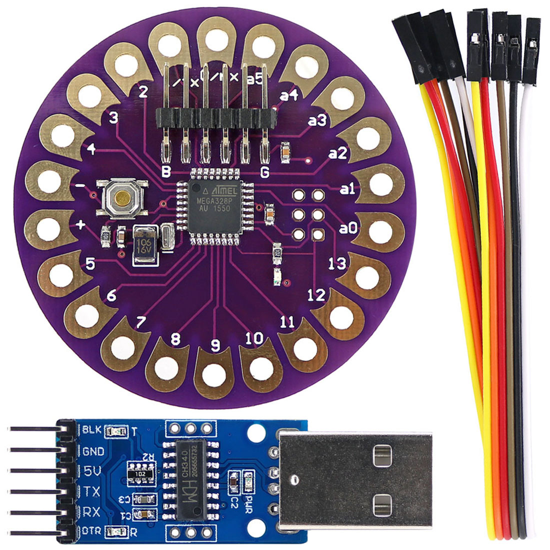 Lilypad ATmega328P Board Wearable Development Module + CH340G USB To TTL Programmer Module For Arduino