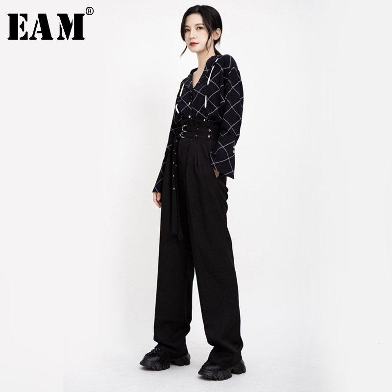 [EAM] High Waist Double Buckle Black Long Wide Leg Trousers New Loose Fit Pants Women Fashion Tide Spring Autumn 2020 1B900