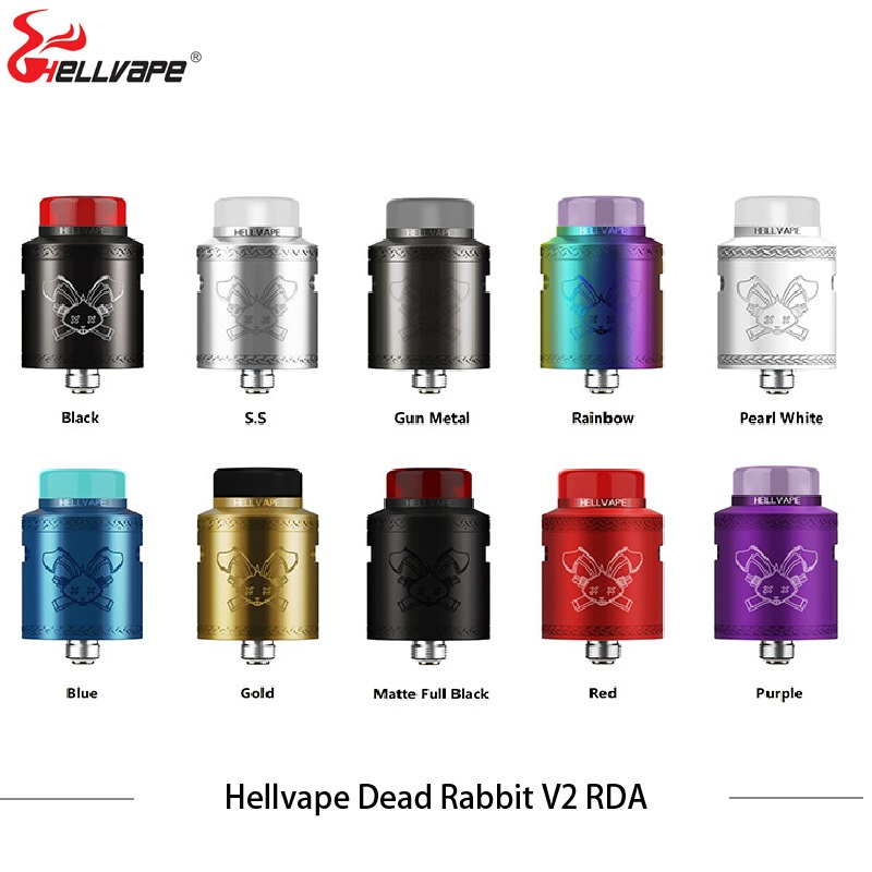 In Stock! Hellvape Dead Rabbit V2 RDA Vape Tank 24mm Single/dual Coils Vape Atomizer For 510 Box Mod VS Drop Dead