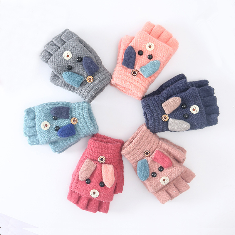 Sparsil Student Winter Cartoon Flap Cashmere Glove Wrist Half Finger Warm Wool Knit Mittens Dual Use Touch Screen Gloves BoyGirl