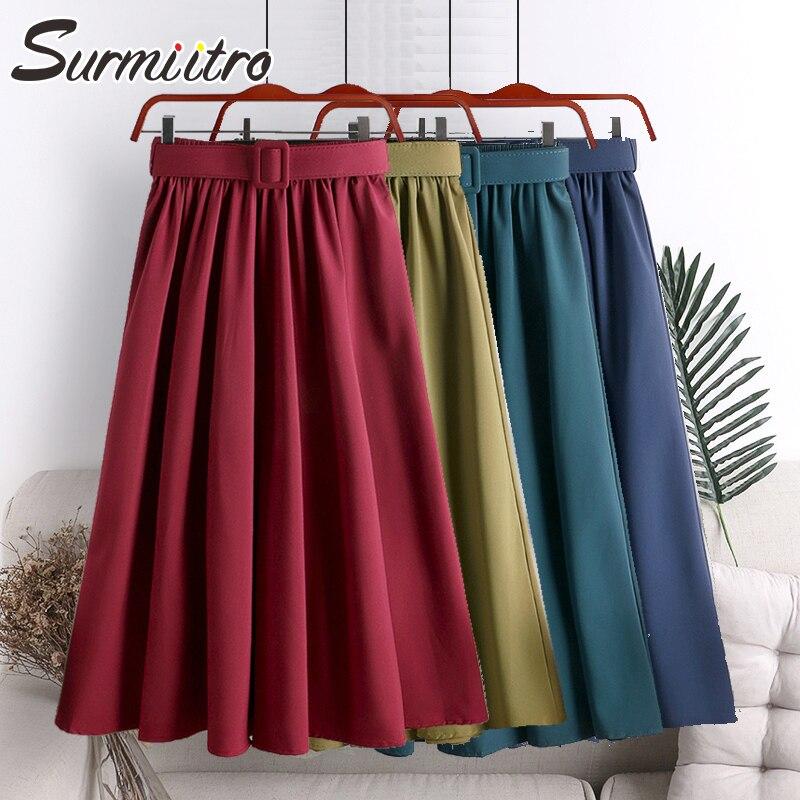 Surmiitro Midi Skirt Women With Belt For 2020 Spring Summer Ladies Korean Red Green Black Blue High Waist Long Skirt Female