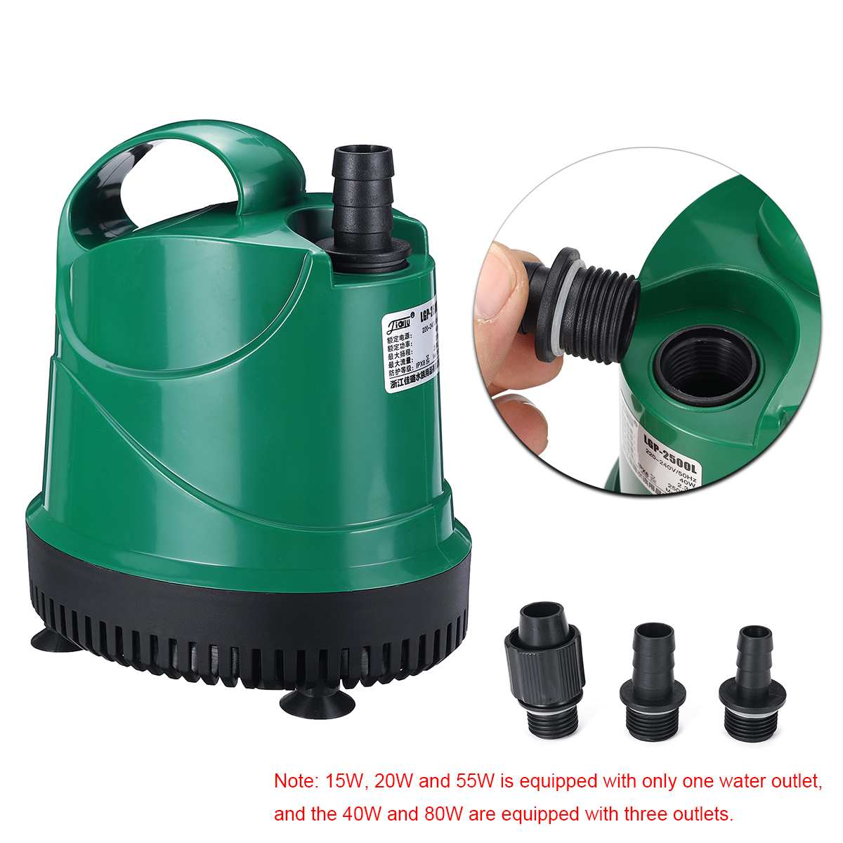 1000-3500L/H Quiet Submersible <font><b>Water</b></font> <font><b>Pump</b></font> Aquarium Fish Pond Tank Spout Marine ABS Case 220V-240V 50Hz Temperature Control image