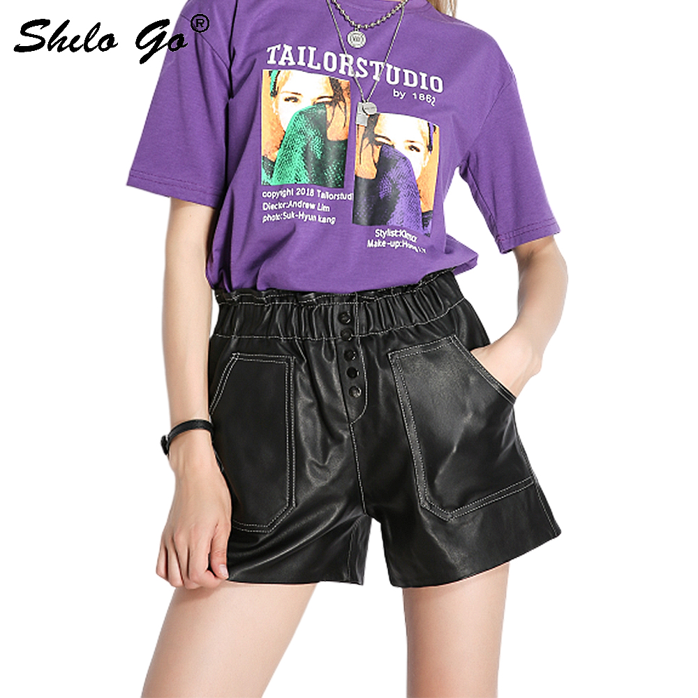 Genuine Leather Shorts Casual Button Front Elastic Waist Wide Leg Shorts Women Autumn Casual High Waist Pocket Highstreet Shorts