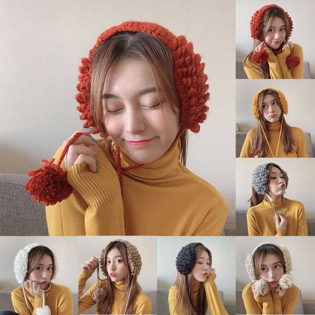 Korean Version Winter Fashion Women Cute Pompom Warm Woolen Knitted Ear Cover Earmuff Gift Cute Warm Earmuffs Knitted Earmuffs