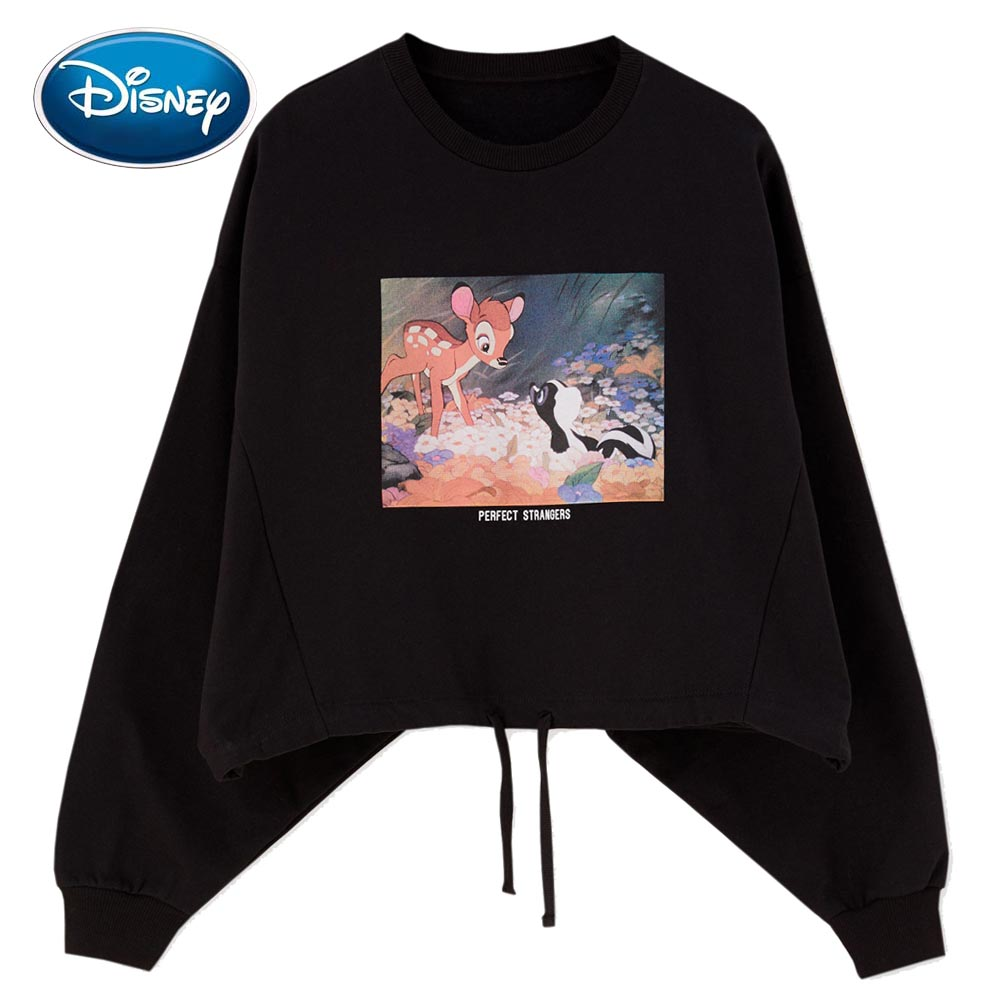 Disney Stylish Bambi Fawn Cartoon Print O-Neck Pullover Streetwear Loose Women Sweatshirt Jumper Long Sleeve Drawstring Hem Tops