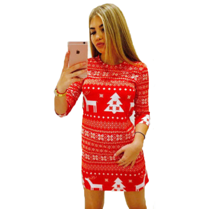 Women Winter Knitted Mini Dress Pullover Sweater Christmas Costume Jumper Knitwear Tops Short Dress Xmas Party Hot Sell