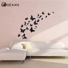 SEEAN Italian Mirror Environmental Protection Wall Decoration Butterfly Wallpaper Sticker Romantic room decor