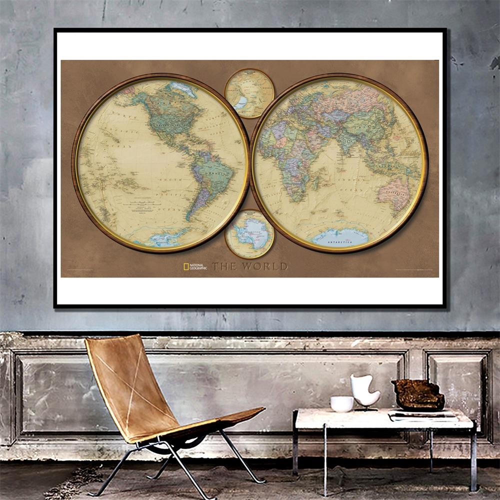 The World Map DIY Decoration Map 2x4ft Vintage Wall Decor Canvas Painting HD World Map For Living Room Bedroom Wall Decor