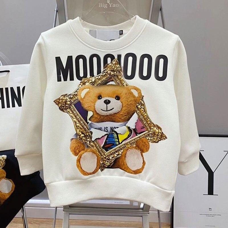 Pull manches longues T-shirt parent enfant costume dessin animé ours coton pull maman et moi vêtements correspondant à des tenues de famille