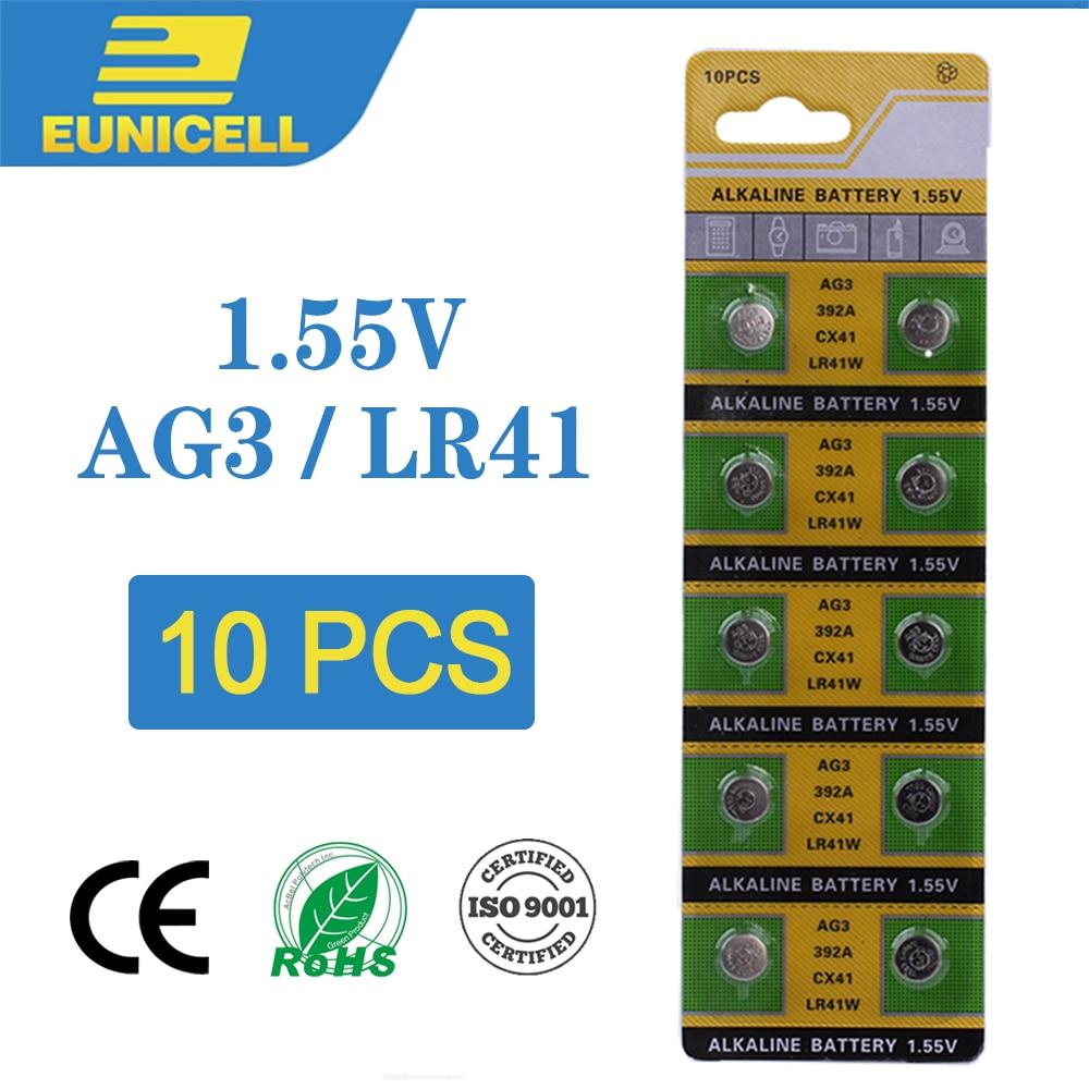 Eunicell 10pcs Alkaline Cell Coin Battery 1.55V AG3 LR41 392 Button Batteries SR41 192 L736 384 SR41SW CX41 AG 3 For Watch Toys